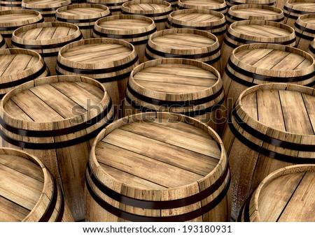 wine barrels. 3d illustration - stock photo