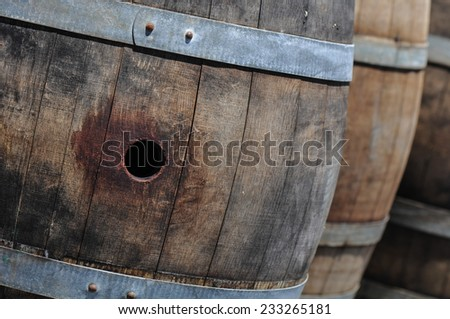 Wine Barrels in a Cellar - stock photo