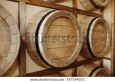 Wine barrels in a old wine cellar.  - stock photo