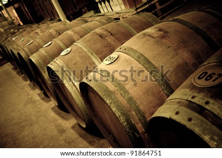Wine barrels in cellar - stock photo