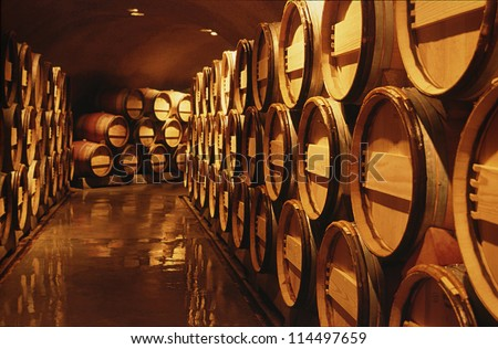 Wine barrels in cellar. Cavernous wine cellar with stacked oak barrels for maturing red wine. - stock photo