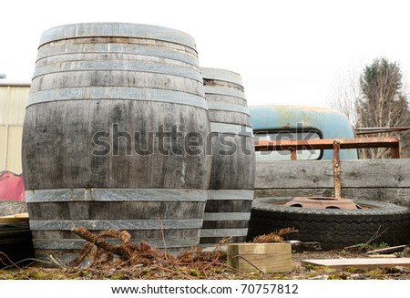 Wine barrels in the back of an old truck outside a farmers market in McMinnville Oregon - stock photo