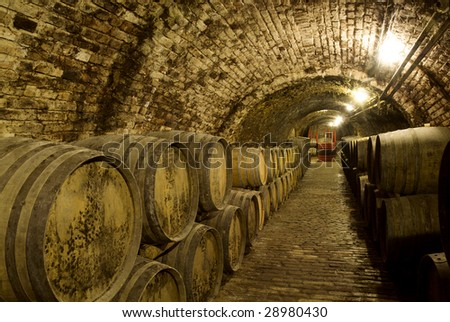 Wine barrels in the old cellar of the winery - stock photo