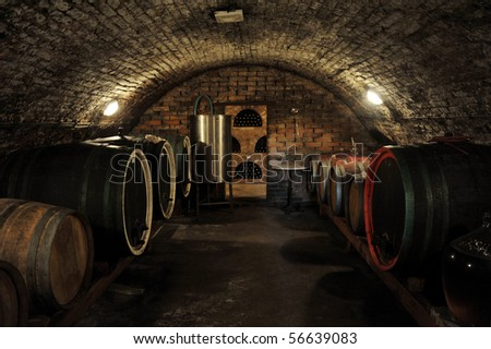 Wine Barrels In Traditional Cellar