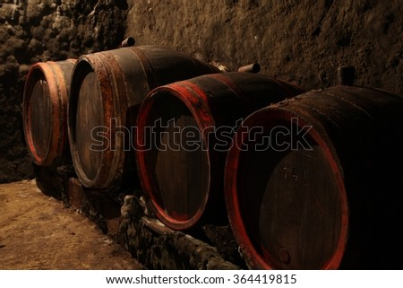 Wine barrels in wine-cellar in order - stock photo