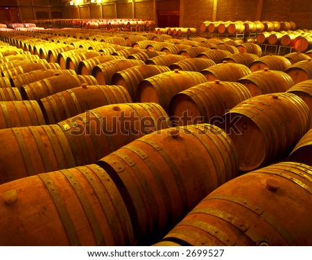 wine barrels in wineyard cellar