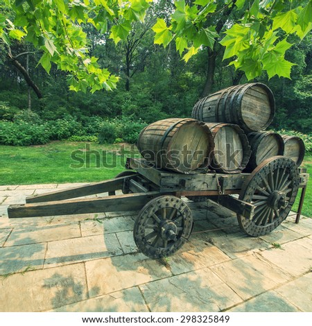 Wine barrels transport - stock photo