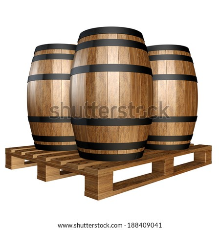 wine barrels wooden pallet. Isolated on white background. 3d - stock photo