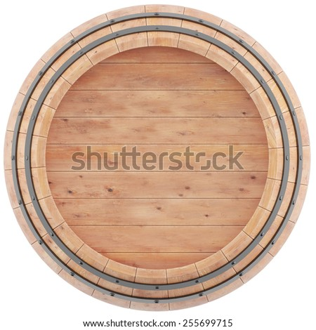 Wine, beer, whiskey, barrel top view of isolation on a white background. 3d high resolution image.