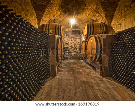 wine bottle and barrels in winery cellar - stock photo