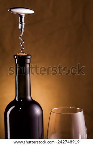 wine bottle and corkscrew  - stock photo