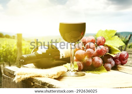 wine bottle and fruits  - stock photo