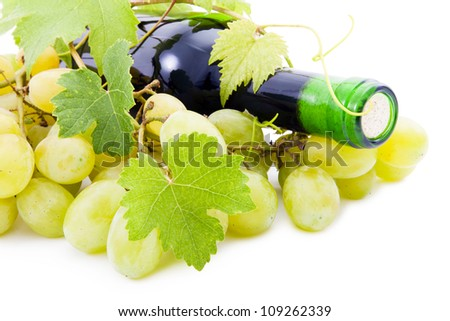 Wine bottle and wine together. - stock photo