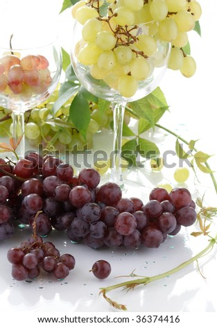 wine bottle and young grape - stock photo