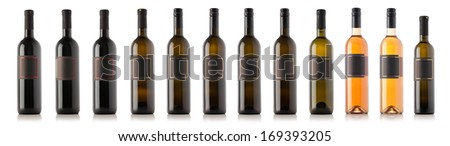 Wine bottle collection isolated on white