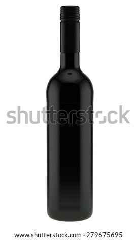 wine bottle from dark glass with a screw stopper without label - stock photo