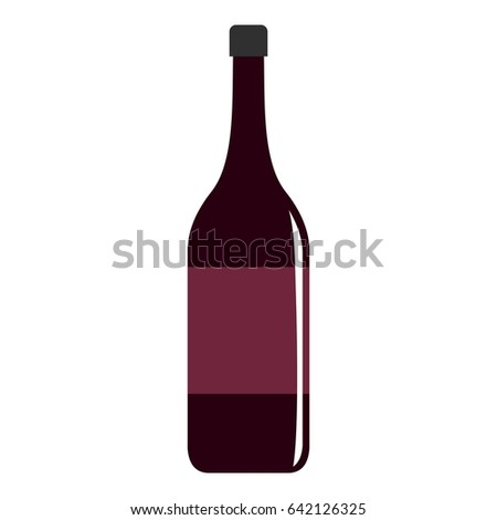 Wine bottle icon flat isolated on white background  illustration