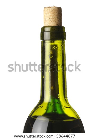 Wine bottle in back light with refraction.