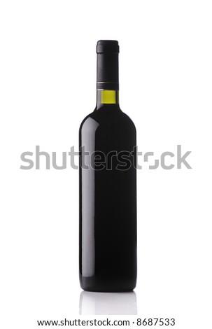 Wine bottle isolated against white background - stock photo