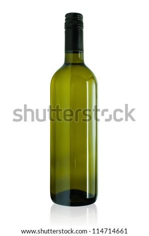 Wine bottle isolated on a white background. - stock photo