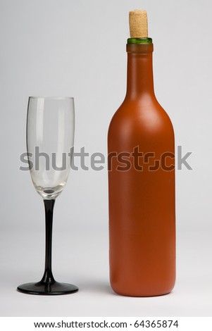 wine bottle isolated on white background - stock photo