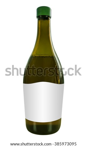 Wine bottle Isolated on white background with Clipping Path for your design. - stock photo