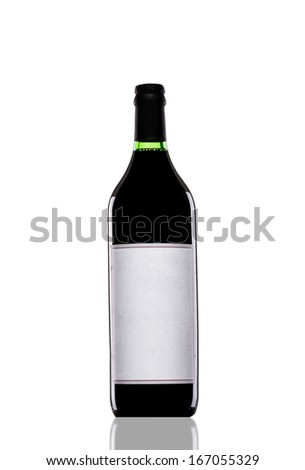 Wine bottle isolated on white...Product shot...