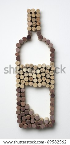 wine bottle made of corks - stock photo