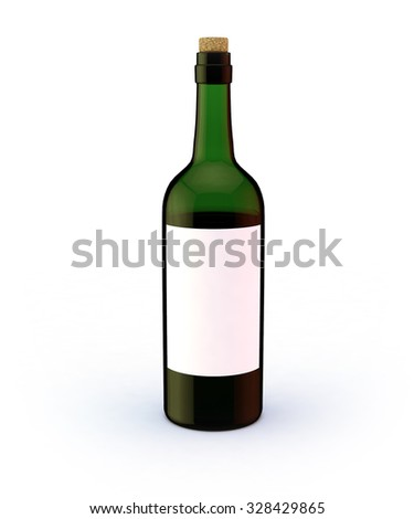 Wine bottle of green glass with blank label mock-up isolated on clean white background