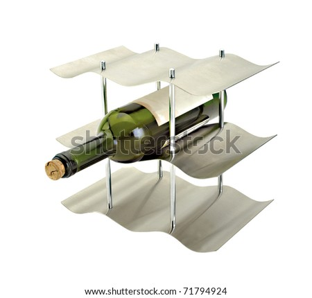 Wine bottle on a rack on a white background - stock photo