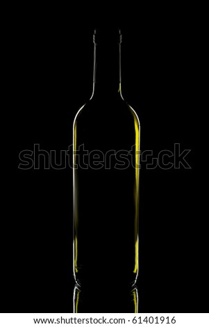 wine bottle on dark background - stock photo