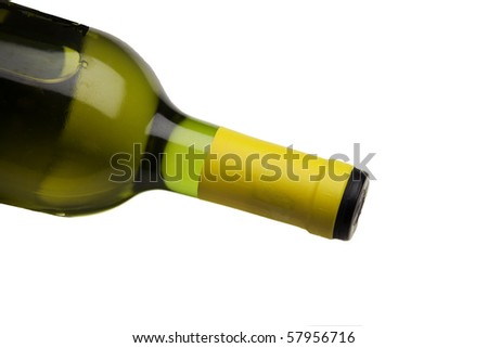 wine bottle on side over white isolated background - stock photo