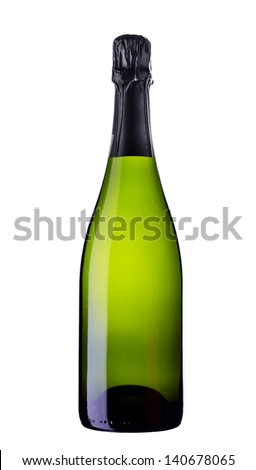 wine bottle on white background - stock photo