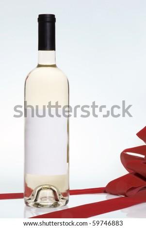 wine bottle present - stock photo