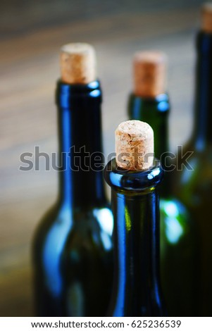 Wine bottle. Shallow depth of field