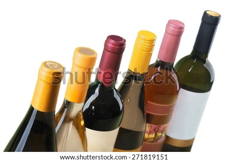 Wine Bottle. Wine bottles in a row on white horizontal - stock photo