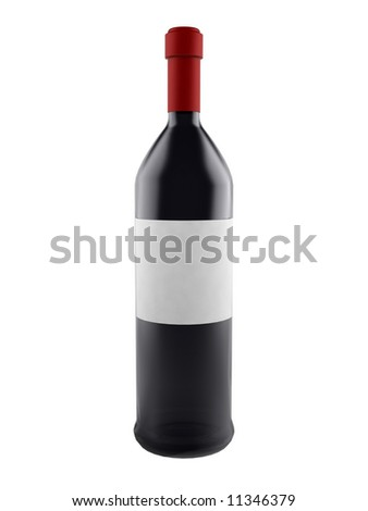 wine bottle with blank label isolated on white