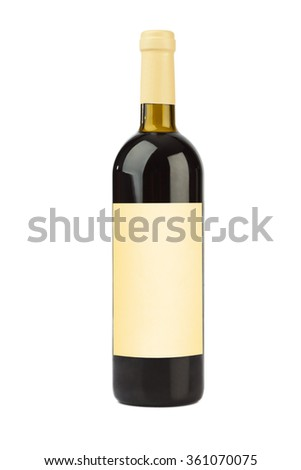 Wine bottle with blank label isolated on white background - stock photo