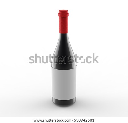 wine bottle with blank label isolated on white background, 3d rendering