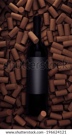 Wine Bottle with Blank Label on Corks - stock photo