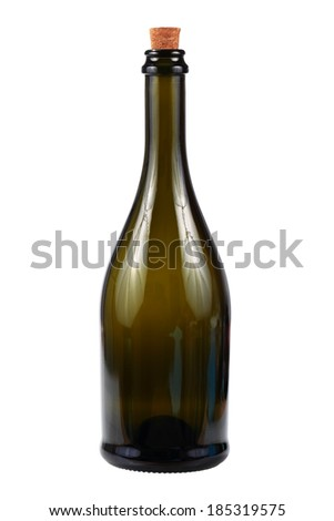 Wine bottle with cork isolated over white background - stock photo