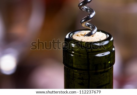 Wine bottle with corkscrew - stock photo
