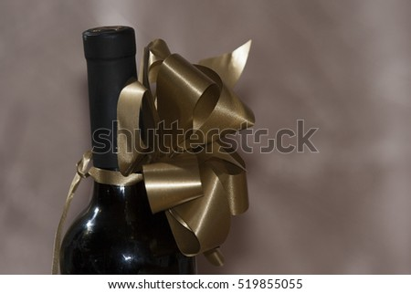 wine bottle with ribbon
