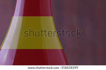 Wine bottle with Spain flag in strict close up, with copy space, horizontal image - stock photo
