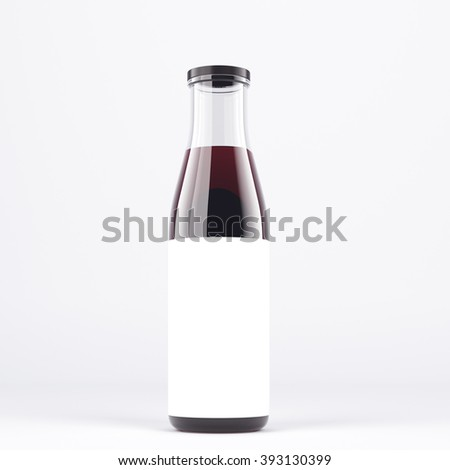 Wine bottle with wide neck, blank label on it. White glass. Concept of bottling wine. Mock up. 3D rendering. - stock photo