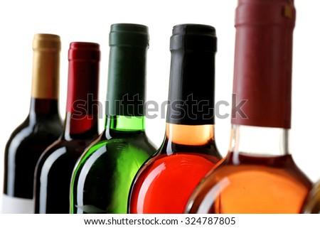 wine bottlenecks isolated on white background - stock photo