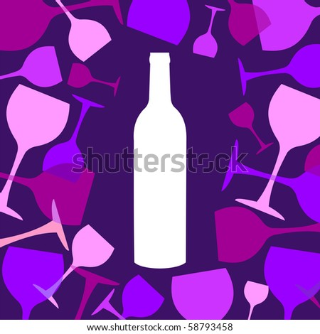 Wine bottles and wineglasses background. White, blue, pink and purple silhouettes