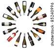 Wine bottles circle on white background