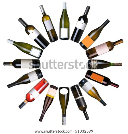 Wine bottles circle over white background - stock photo