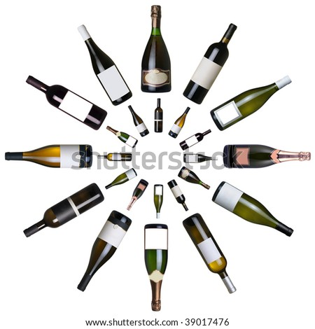 Wine bottles clock over white background - stock photo